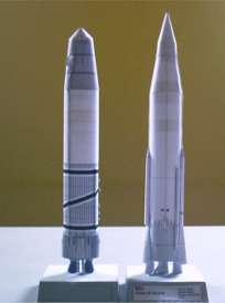 Scale models of atlas and blue streak rockets
